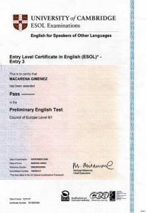 Сертификат FCE (First Certificate In English)